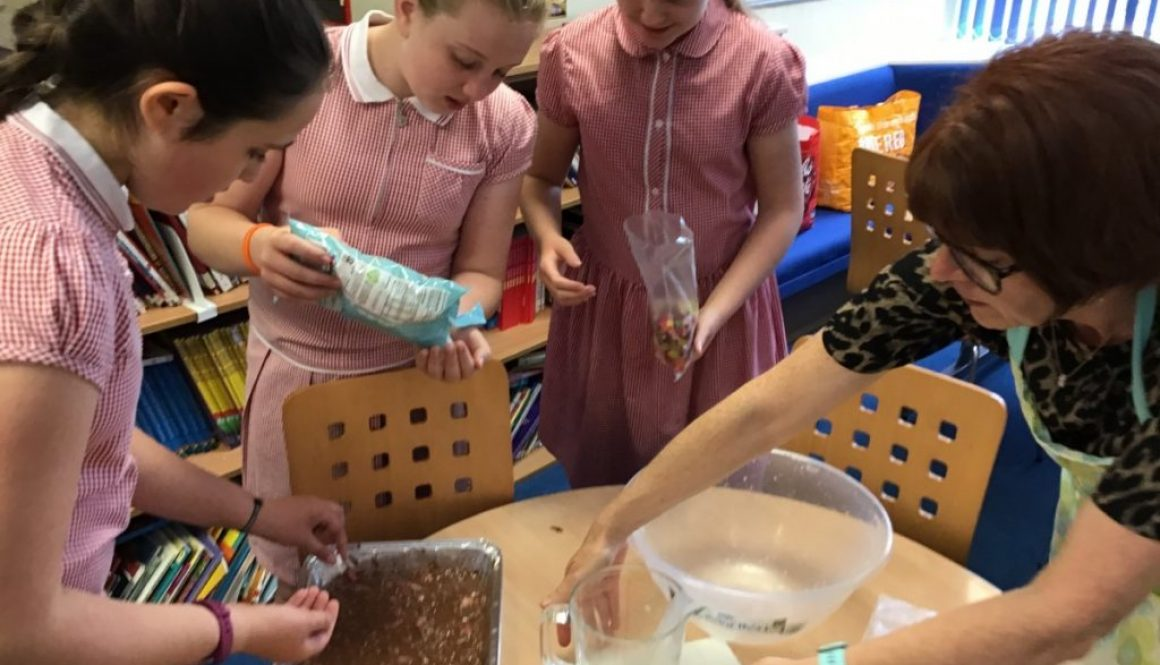 Year 6 baking their rocky road